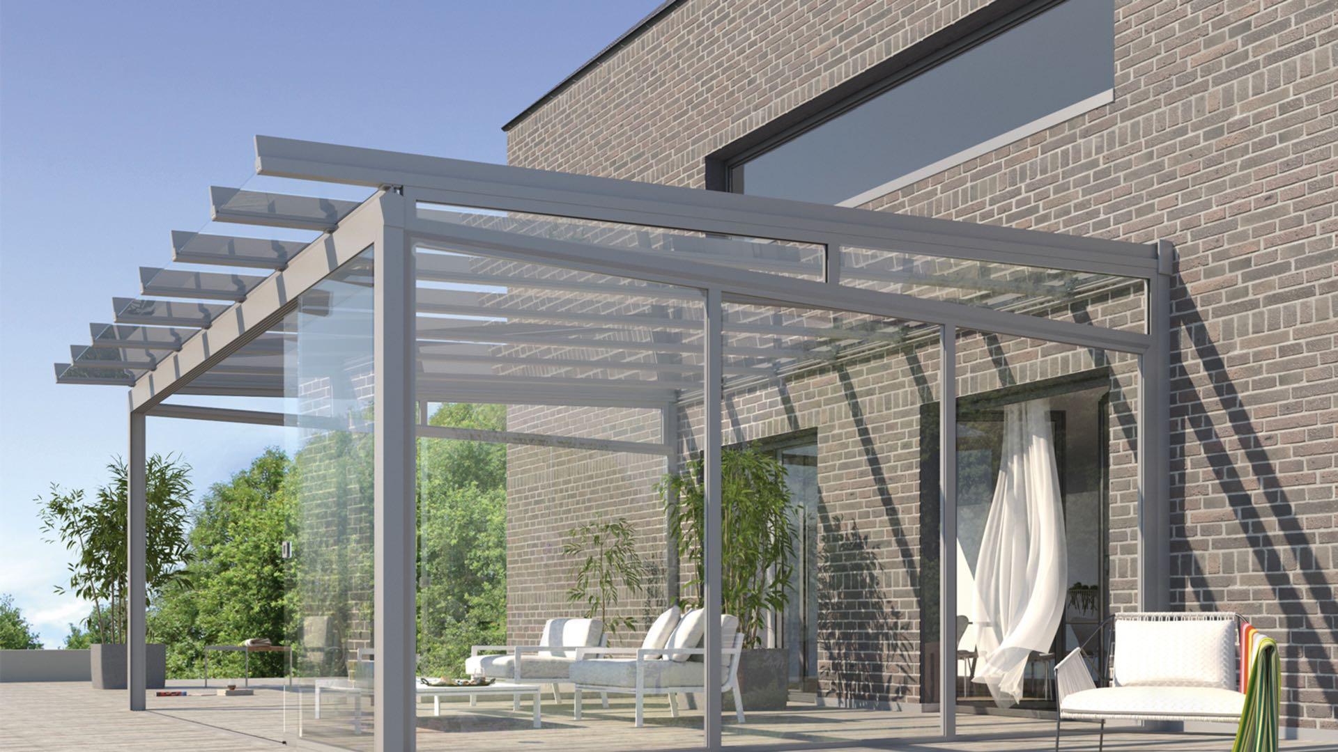 AREA Classic Terrassendach mit Seitenelementen. LEINER. DIX Markisen Zentrum GmbH Rödinghausen, Bielefeld, Osnabrück.