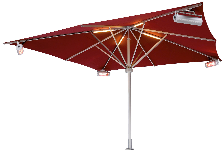 Sonnenschirme mit Heizstrahler und LED Beleuchtung